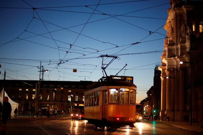 FILE PHOTO: A tram arrives at Praca do Comercio square in downtown Lisbon