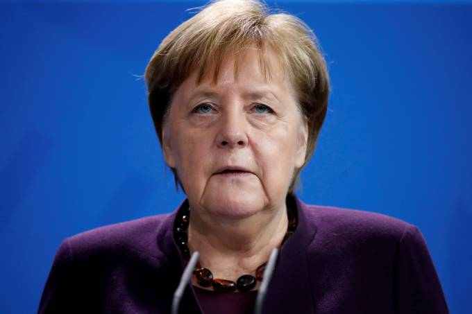 German Chancellor Angela Merkel gives a statement in Berlin
