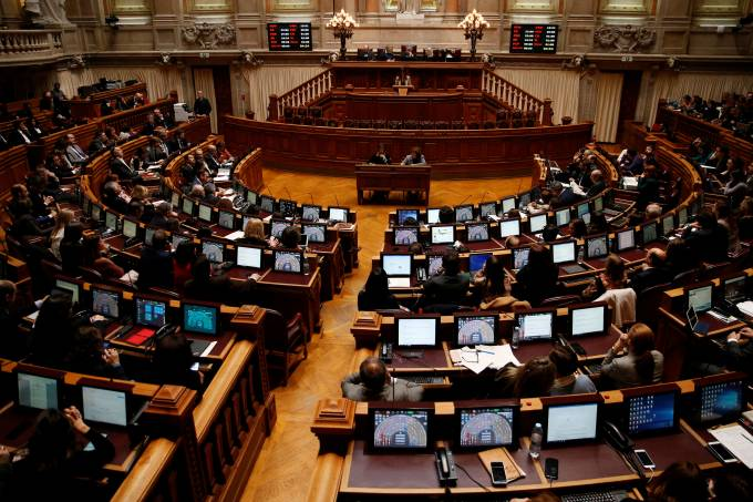 General view shows the Portuguese parliament during a debate on five bills proposing the legalisation of euthanasia, in Lisbon
