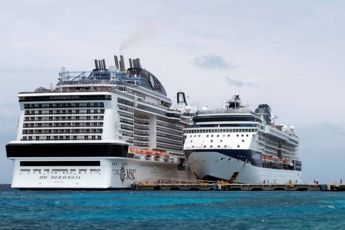 Cruise liner MSC Meraviglia is berthed at a dock in Punta Langosta after two Caribbean ports denied the ship entry due to fears, later disproven, that a crew member was infected with the coronavirus, in Cozumel