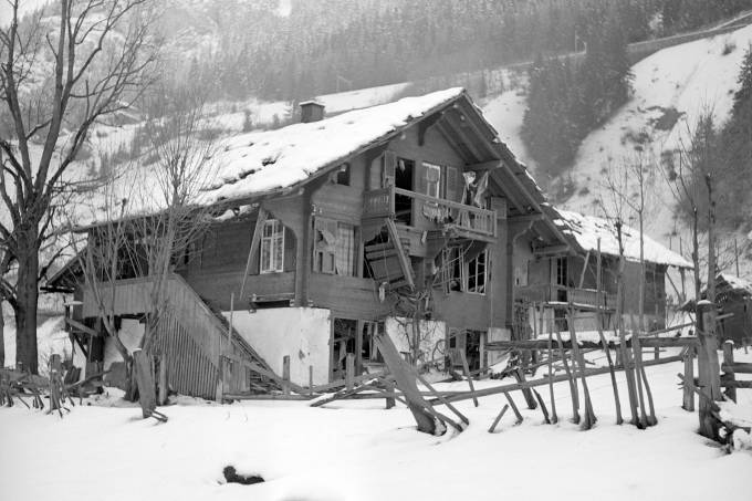 Ammunition dump of the Swiss army exploded and destroyed the railway station of Blausee-Mitholz 1947
