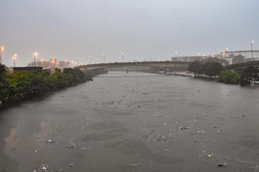 Rio Tietê transbordou após temporal