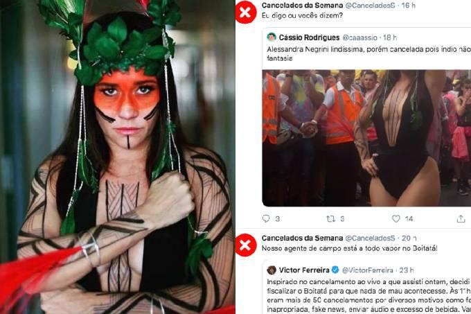 Internautas pedem cancelamento da atriz Alessandra Negrini por se fantasiar de índia no Carnaval (17/02/2020)