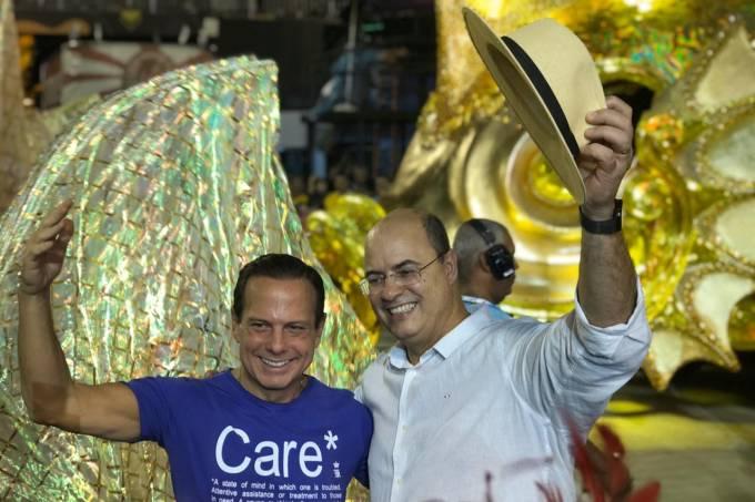 João Doria e Wilson Witzel no Carnaval do Rio (23/02/2020)
