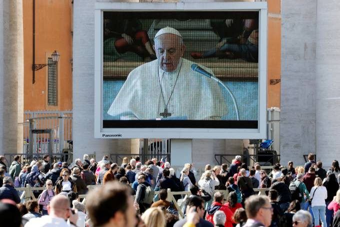Pope Francis delivers his weekly Angelus prayer via video, in Vatican
