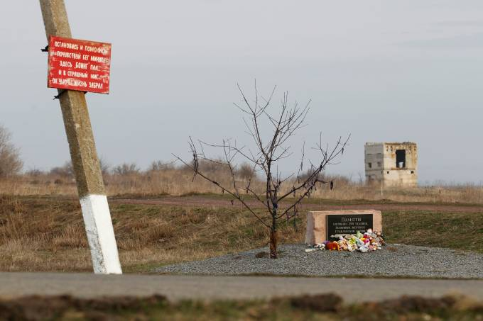 A view shows a monument at the crash site of Malaysia Airlines Flight MH17 plane near Hrabove