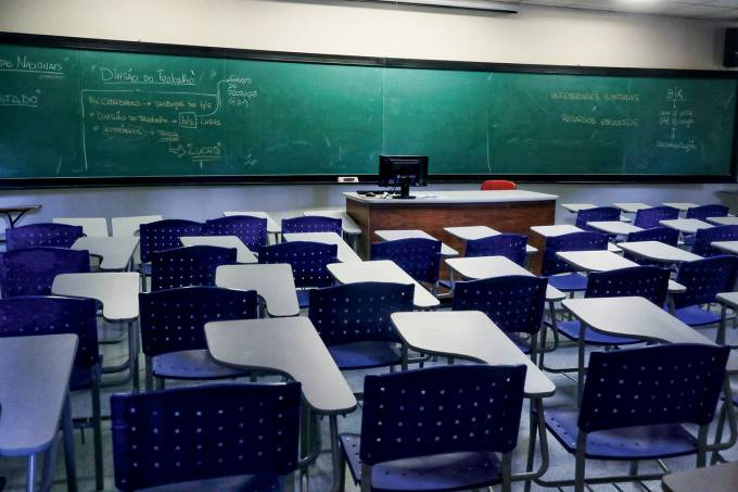 An empty classroom is seen at the University of Campinas (UniCamp) after the classes were suspended due to the coronavirus outbreak in Campinas