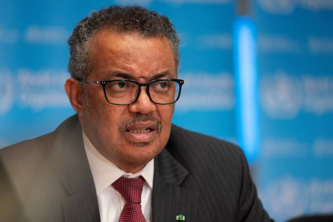Director-General of WHO Tedros attends news conference in Geneva