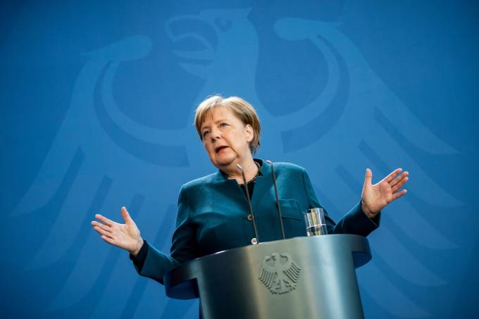 German Chancellor Angela Merkel statement on the spread of the new coronavirus disease (COVID-19) in Berlin