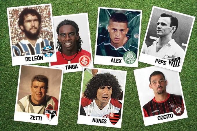 Pepe (Santos), Nunes (Flamengo), Zetti (São Paulo), Alex (Palmeiras), De León (Grêmio), Tinga (Inter) e Cocito (Athetico)
