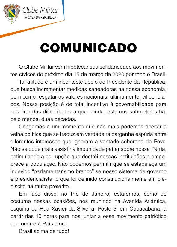 Comunicado do Clube Militar
