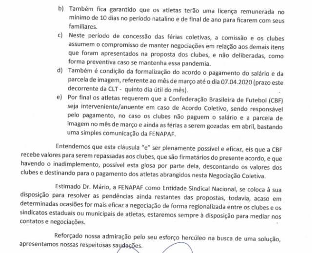 Documento enviado pela Fenapaf à Comissão Nacional de Clubes