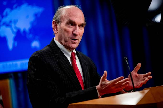 Special Representative for Venezuela Elliott Abrams speaks during a news conference at the State Department, in Washington