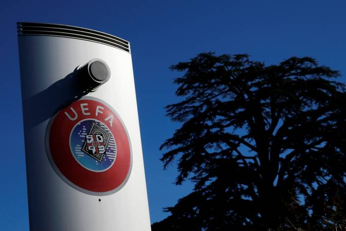 A logo is pictured outside the UEFA in Nyon
