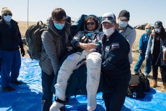 Soyuz MS-15 space capsule lands near Zhezkazgan