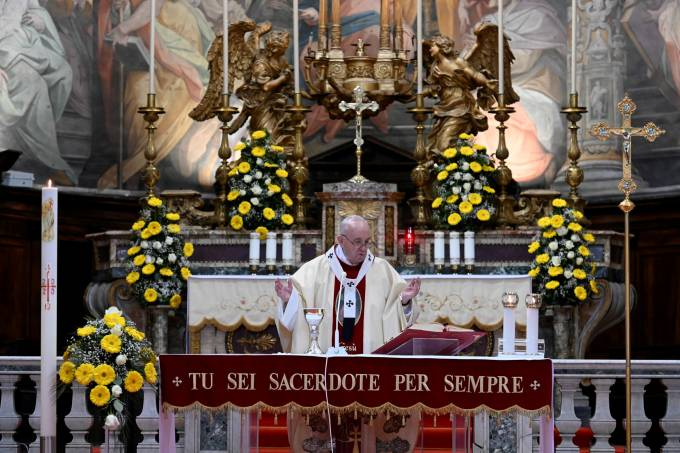 Pope Francis leads Mass and the Regina Coeli prayer in Rome