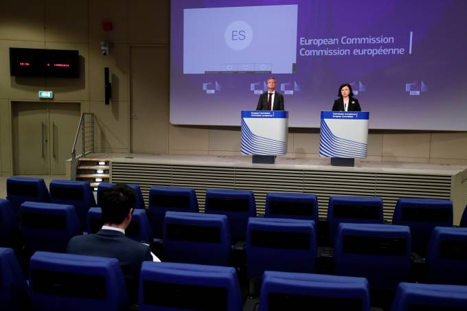 European Commission Vice-President Vera Jourova holds a news conference, in Brussels