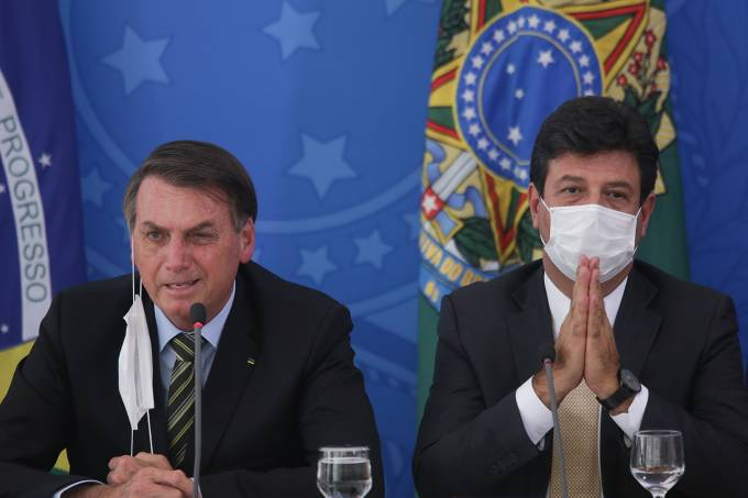 Brazilian President Jair Bolsonaro attends a Press Conference to Give Updates on the Coronavirus (COVID-19) Outbreak