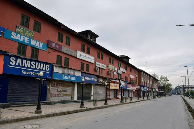 View of closed shops during a nationwide lockdown imposed to