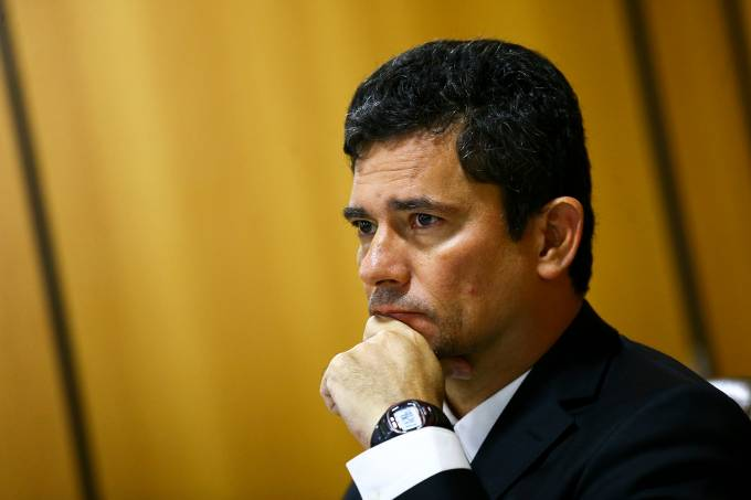 O ministro da Justiça e Segurança Pública, Sergio Moro, durante entrevista coletiva, para divulgar o Levantamento Nacional de Informações Penitenciárias (Infopen) de 2019.