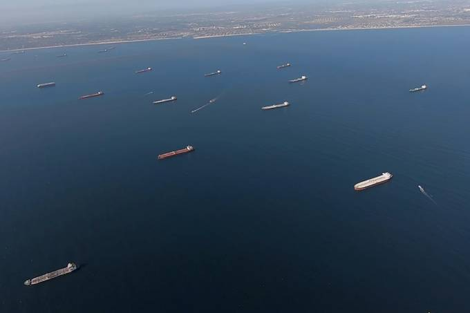 Some of the 27 oil tankers anchored viewed by helicopter off shore from Long Beach