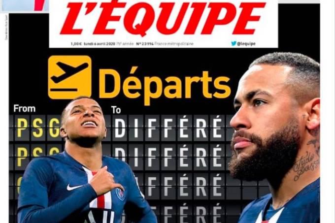 """""""Embarque atrasado"""", estampou jornal francês sobre situação de Neymar e Mbappé"""