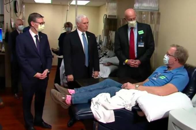 Mike Pence era o único sem máscara durante a visita á Clínica Mayo