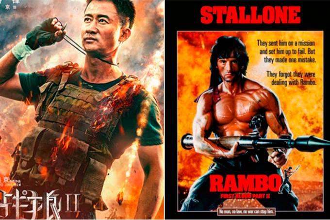 Pôsteres de 'Wolf Warrior' e de 'Rambo'