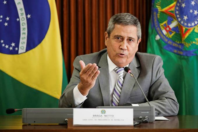 Brazil's Chief of Staff Minister Walter Souza Braga Netto speaks during the presentation of the coordination center for operations of the crisis committee against the coronavirus disease (COVID-19) outbreak, in Brasilia