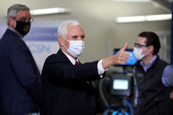 U.S. Vice President Mike Pence visits the General Motors Components Holding Plant that is manufacturing ventilators, in Kokomo