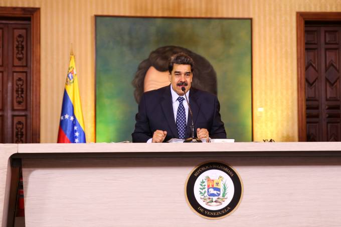 Venezuela's President Nicolas Maduro speaks during a virtual news conference in Caracas