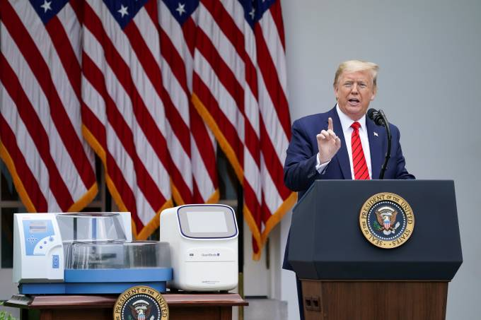 U.S. President Trump holds press briefing on the coronavirus response at the White House in Washington