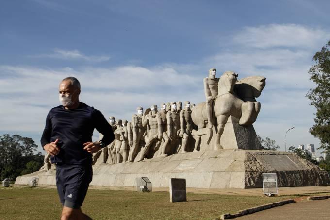 Coronavirus Monument With Masks In Sao Paulo
