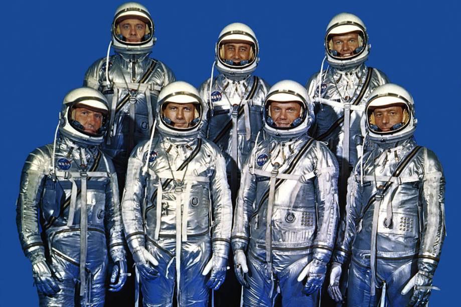 A primeira turma de astronautas da Nasa, conhecida como Mercury 7, em foto de 1959