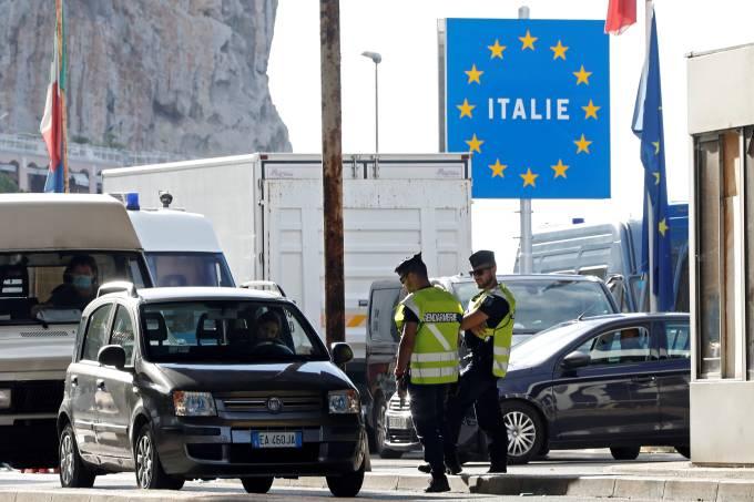 Border check point Saint-Ludovic at the Franco-Italian border