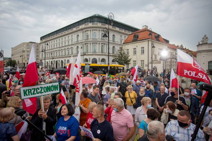 People attend a presidential election campaign event in Warsaw