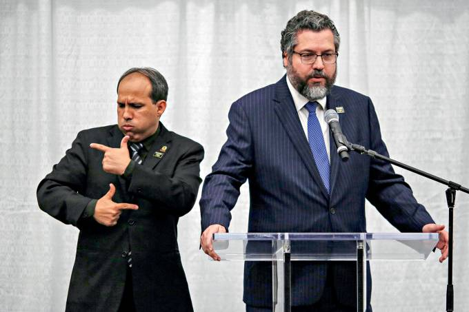 Brazilian Foreign Minister Ernesto Araujo speaks during a meeting with the Brazilian community at The Miami Dade College Auditorium, in Miami