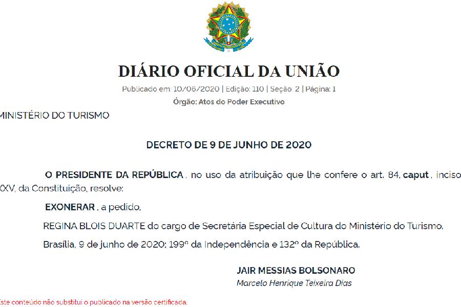 Exoneração Regina Duarte