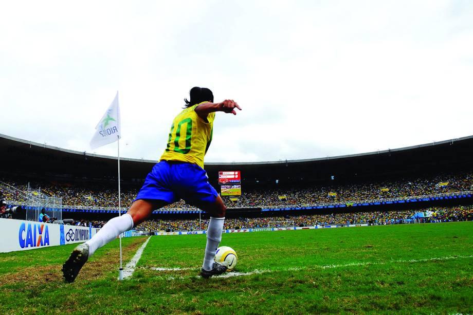 Marta, da Seleção Brasileira, durante jogo contra os EUA na final dos jogos Pan-Americanos, em 2007