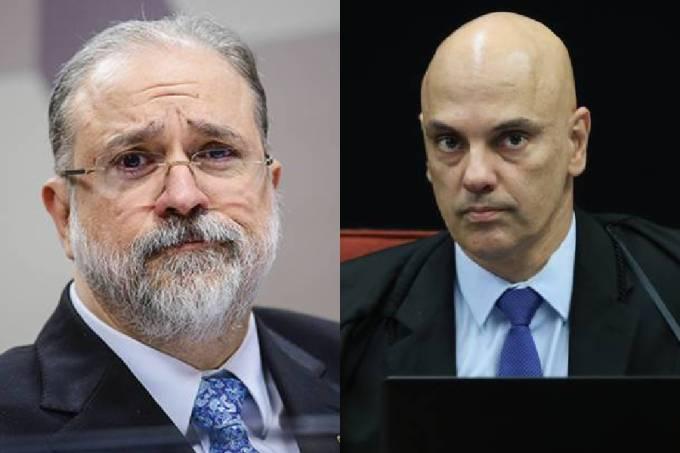 O titular da PGR, Augusto Aras, e o ministro do STF, Alexandre de Moraes