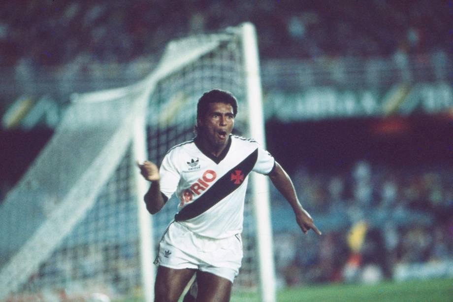 Romário, jogador do Vasco, no jogo contra o Botafogo (RJ), pelo Campeonato Carioca, em 1987