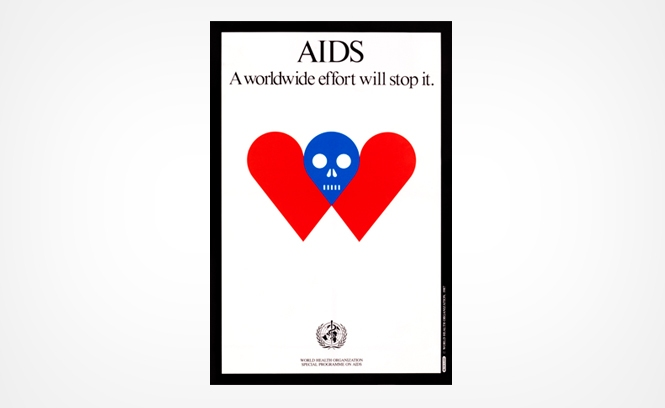 Cartaz da Organização Mundial da Saúde contra a Aids feito por Milton Glaser
