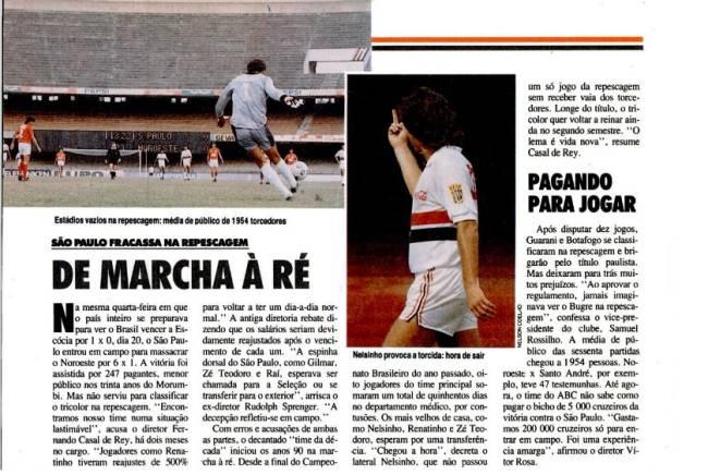 Reportagem de PLACAR sobre a campanha do São Paulo no Paulista de 1990