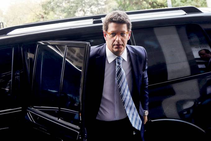 Brazil's Environment Minister Ricardo Salles arrives to debate the challenges of the environment in Sao Paulo