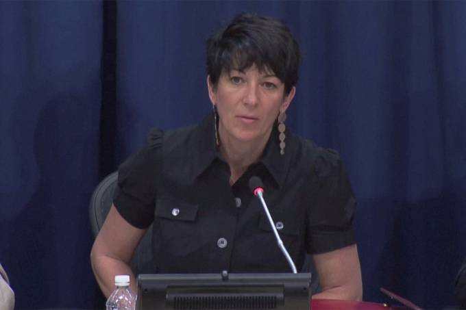 Ghislaine Maxwell speaks at a news conference at the United Nations in New York
