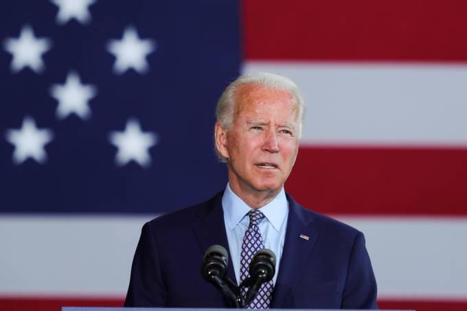 Democratic U.S. presidential candidate Joe Biden speaks about U.S. economy at a metal works plant in Dunmore, Pennsylvania
