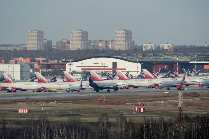 FILE PHOTO: Planes are seen parked at Sheremetyevo International Airport outside Moscow