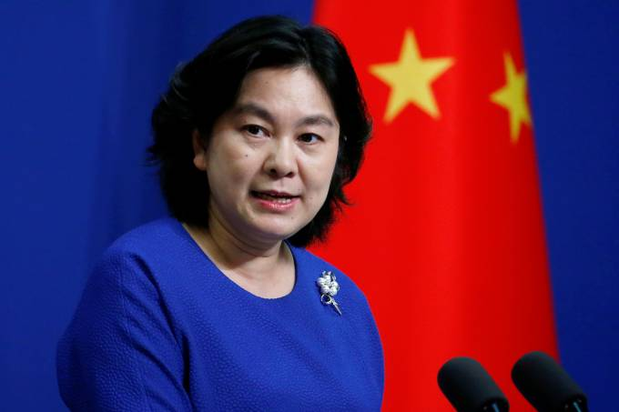 Chinese Foreign Ministry spokeswoman Hua Chunying speaks at a news conference in Beijing
