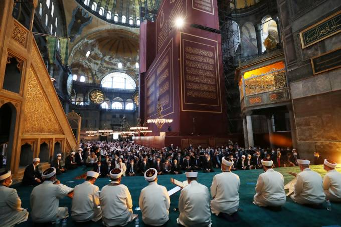 Turkey's President Tayyip Erdogan attends Friday prayers at Hagia Sophia Grand Mosque in Istanbul