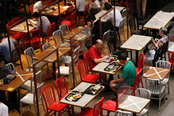 Social distancing marks are seen at a restaurant following the coronavirus disease (COVID-19) outbreak in Hong Kong